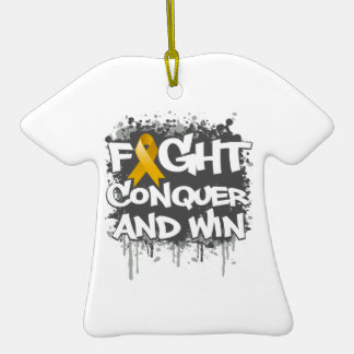 Appendix Cancer Fight Conquer and Win Double-Sided T-Shirt Ceramic Christmas Ornament