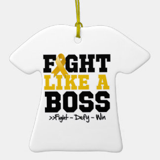 Appendix Cancer Fight Like a Boss Double-Sided T-Shirt Ceramic Christmas Ornament