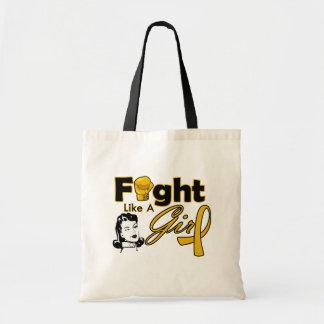 Appendix Cancer Fight Like A Girl - Retro Girl Budget Tote Bag