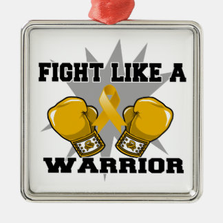 Appendix Cancer Fight Like a Warrior Square Metal Christmas Ornament