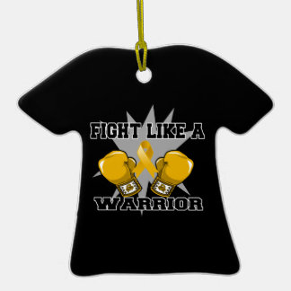 Appendix Cancer Fight Like a Warrior Double-Sided T-Shirt Ceramic Christmas Ornament