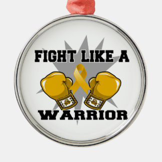 Appendix Cancer Fight Like a Warrior Round Metal Christmas Ornament