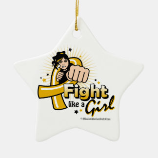 Appendix Cancer Fist - Fight Like a Girl Double-Sided Star Ceramic Christmas Ornament
