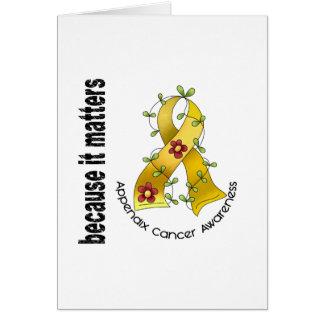 Appendix Cancer Flower Ribbon 3 Card