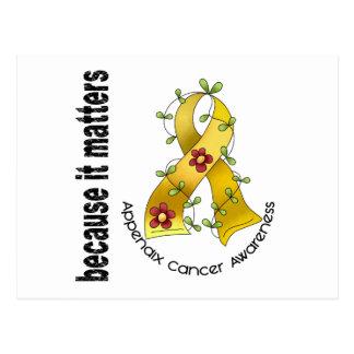 Appendix Cancer Flower Ribbon 3 Postcard