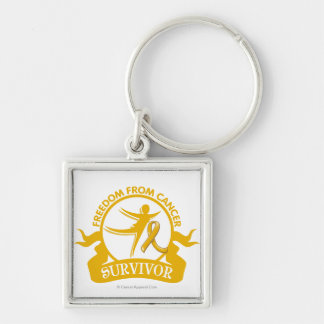 Appendix Cancer - Freedom From Cancer Survivor Silver-Colored Square Keychain