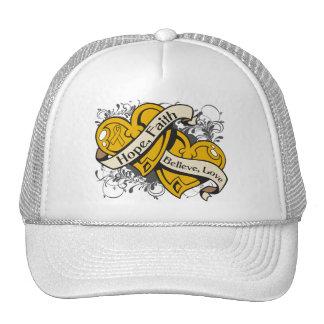 Appendix Cancer Hope Faith Dual Hearts Trucker Hat