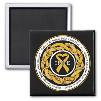 Appendix Cancer  Hope Intertwined Ribbon 2 Inch Square Magnet