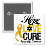 Appendix Cancer Hope Love Cure Pins