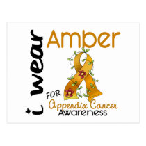 Appendix Cancer I Wear Amber For Awareness 43 Postcard
