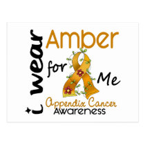 Appendix Cancer I Wear Amber For Me 43 Postcard