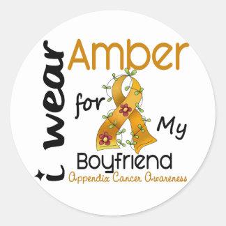 Appendix Cancer I Wear Amber For My Boyfriend 43 Classic Round Sticker