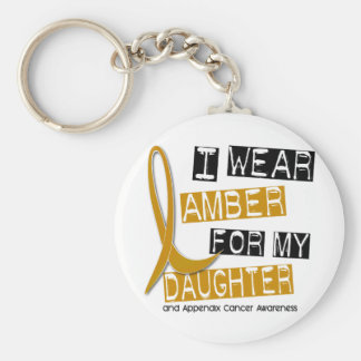 APPENDIX CANCER I Wear Amber For My Daughter 37 Keychain