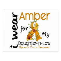 Appendix Cancer I Wear Amber For My Daughter-In-La Postcard