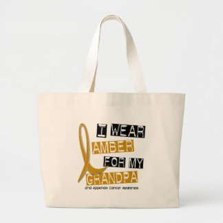 APPENDIX CANCER I Wear Amber For My Grandpa 37 Large Tote Bag