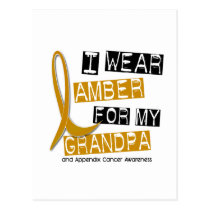 APPENDIX CANCER I Wear Amber For My Grandpa 37 Postcard