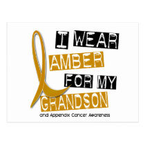 APPENDIX CANCER I Wear Amber For My Grandson 37 Postcard