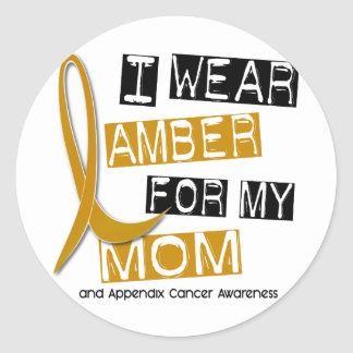 APPENDIX CANCER I Wear Amber For My Mom 37 Classic Round Sticker