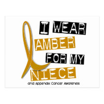 APPENDIX CANCER I Wear Amber For My Niece 37 Postcard