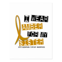 APPENDIX CANCER I Wear Amber For My Sister 37 Postcard