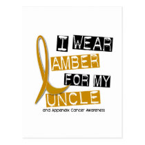 APPENDIX CANCER I Wear Amber For My Uncle 37 Postcard