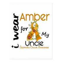 Appendix Cancer I Wear Amber For My Uncle 43 Postcard