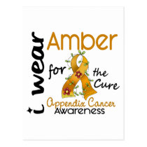 Appendix Cancer I Wear Amber For The Cure 43 Postcard