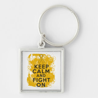 Appendix Cancer Keep Calm and Fight On Keychain
