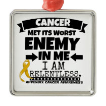Appendix Cancer Met Its Worst Enemy in Me Metal Ornament