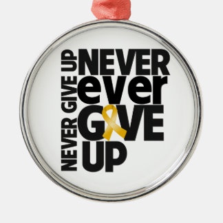 Appendix  Cancer Never Ever Give Up Round Metal Christmas Ornament
