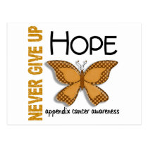 Appendix Cancer Never Give Up Hope Butterfly 4.1 Postcard