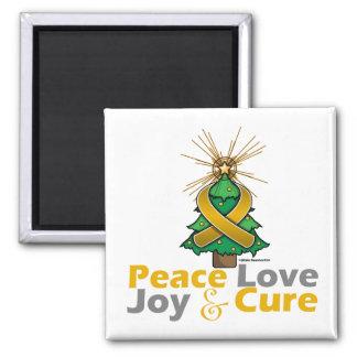 Appendix Cancer Peace Love Joy Cure 2 Inch Square Magnet