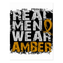 Appendix Cancer Real Men Wear Amber Postcard