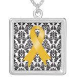 Appendix Cancer Ribbon Damask Deco Personalized Necklace