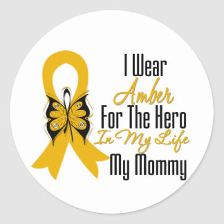 Appendix Cancer Ribbon Hero My Mommy Classic Round Sticker