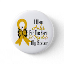 Appendix Cancer Ribbon Hero My Sister Button