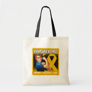 Appendix Cancer Rosie Riveter - Fight Like a Girl Budget Tote Bag