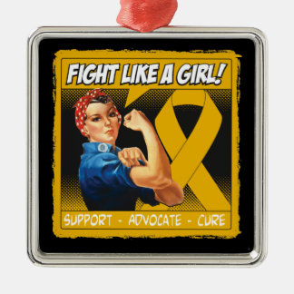Appendix Cancer Rosie Riveter - Fight Like a Girl Square Metal Christmas Ornament