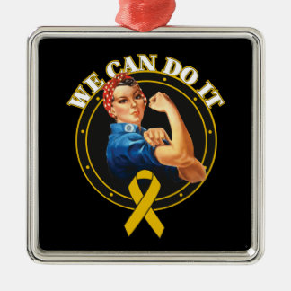 Appendix Cancer - Rosie The Riveter - We Can Do It Square Metal Christmas Ornament