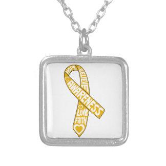 Appendix Cancer Slogans Ribbon Necklace