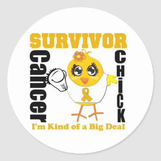 Appendix Cancer Survivor Chick Ribbon Round Sticker