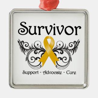 Appendix Cancer Survivor Floral Deco Metal Ornament