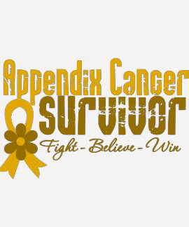 Appendix Cancer Survivor Flower Ribbon Tee Shirt
