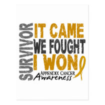 Appendix Cancer Survivor It Came We Fought I Won Postcard