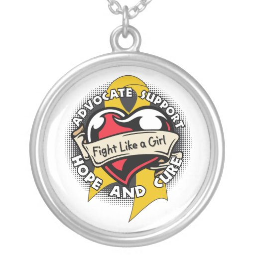 Appendix Cancer - Tattoo Heart Fight Like A Girl Necklaces