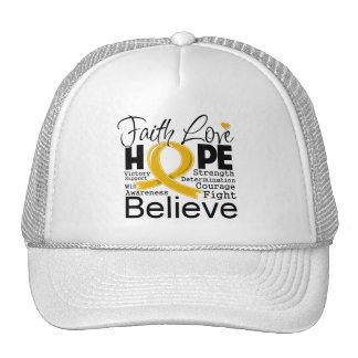 Appendix Cancer Typographic Faith Love Hope Trucker Hat