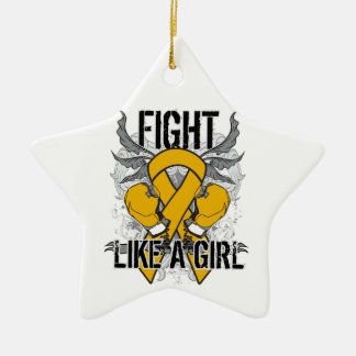 Appendix Cancer Ultra Fight Like A Girl Double-Sided Star Ceramic Christmas Ornament