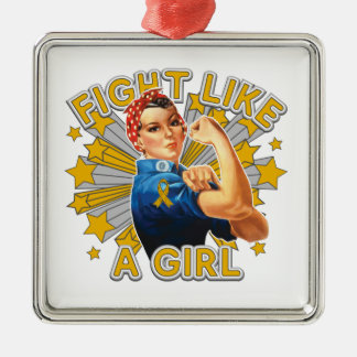 Appendix Cancer Vintage Rosie Fight Like A Girl Square Metal Christmas Ornament