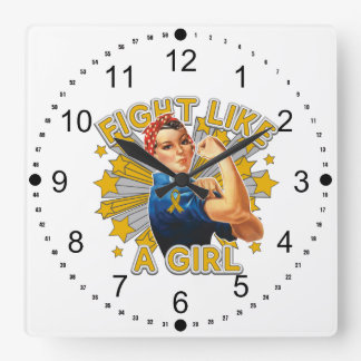 Appendix Cancer Vintage Rosie Fight Like A Girl Square Wallclock