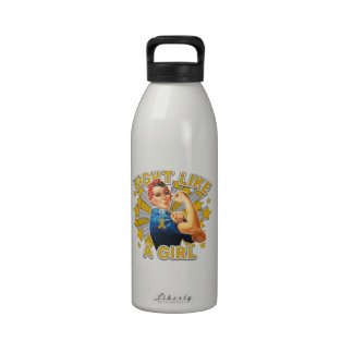 Appendix Cancer Vintage Rosie Fight Like A Girl Water Bottle